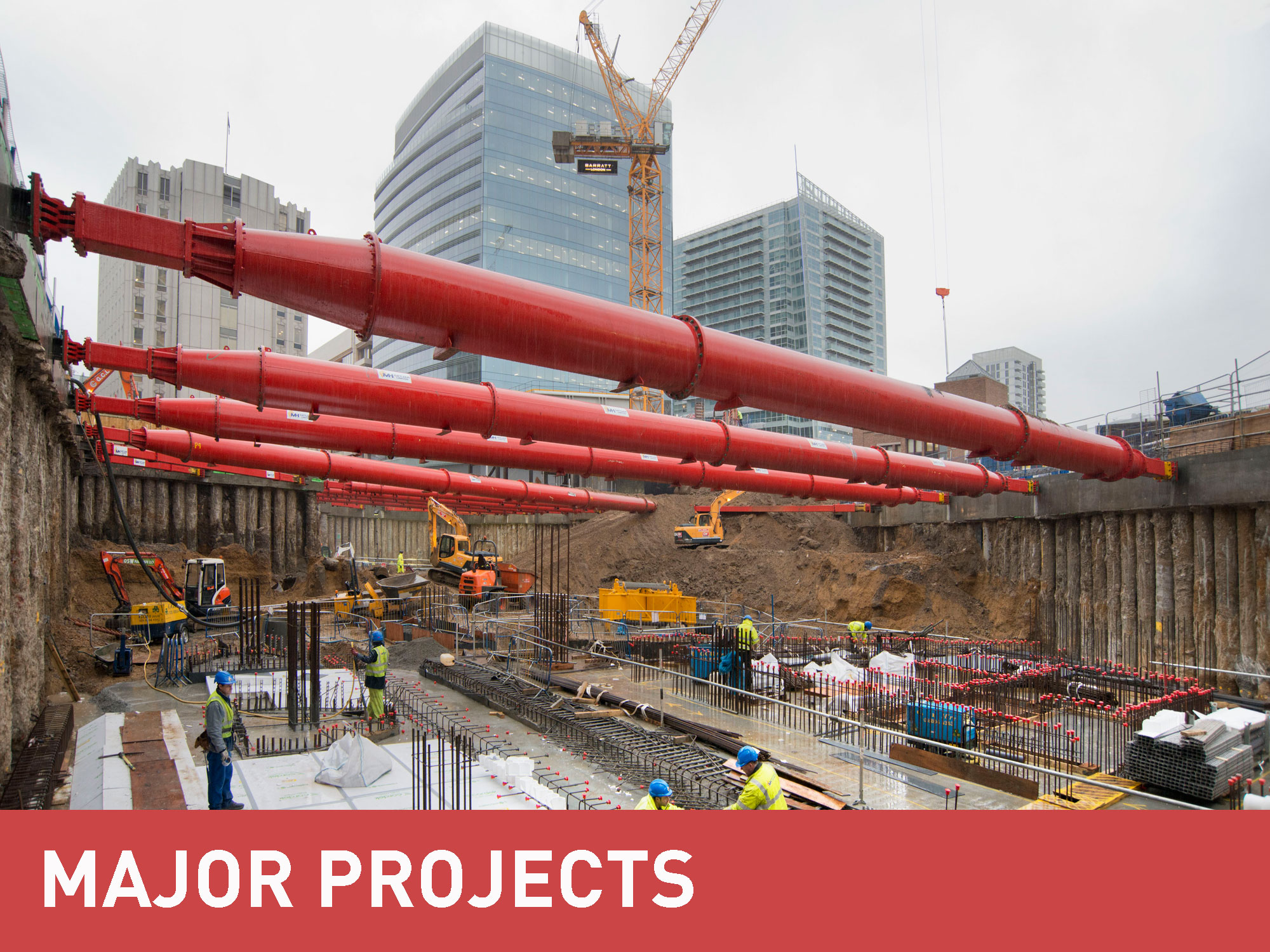 MGF Major Projects category banner above a photograph of a major excavation in a city area
