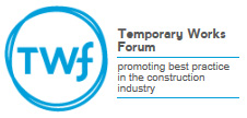 Blue Temporary Works Forum logo with black strap line at the side on a white background