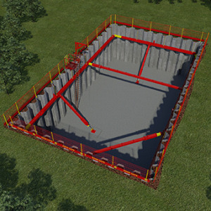 Animation viewed from above of MGF 200 Series Struts in use at an excavation