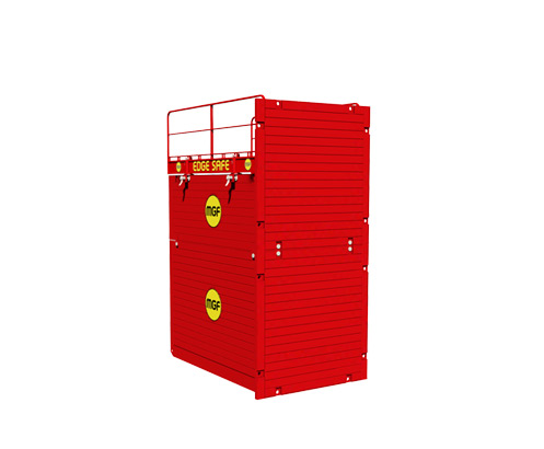 Red MGF Endsafe Box animation on a white background