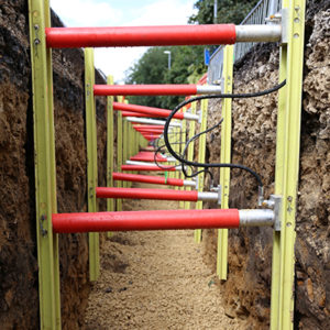 MGF GRIPSHORE GRP Vertishore installed in a trench on site