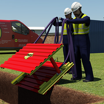 Animation of a GRP Modular Trench Box being placed into an excavation by site workers