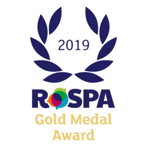 Blue and gold RoSPA award logo on white background