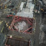 Drone footage of MGF kit inside excavation